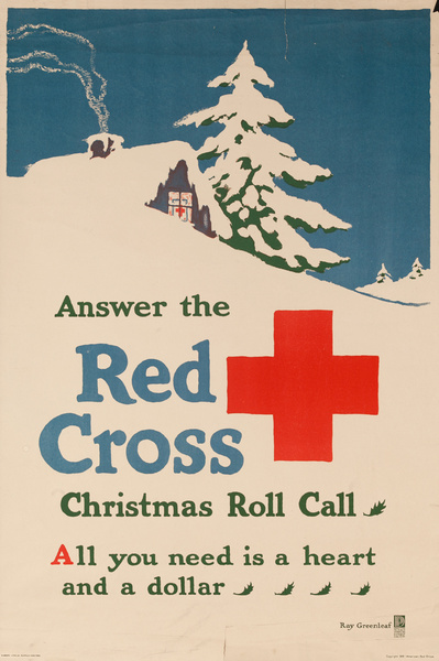 Answer the Red Cross Christmas Roll Call, Original American Red Cross Poster