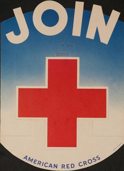 JOIN Original American Red Cross Poster, Die Cut Sign