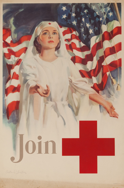 Join, Nurse in Front of American Flag, Original American Red Cross Poster