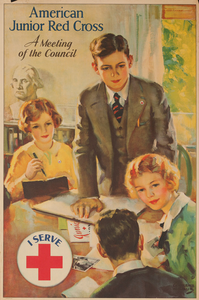 A Meeting of the Council, I Serve, Original American Junior Red Cross Poster