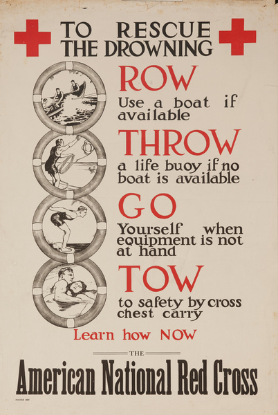 To Rescue the Drowning.... Original American Red Cross Poster