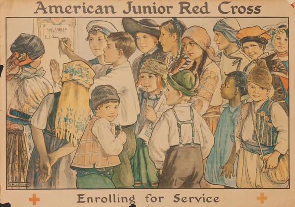 Original American Junior Red Cross Poster, Enrolling for Service