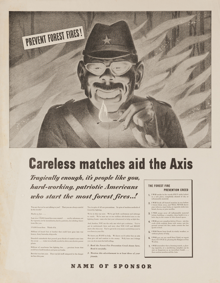 Careless Matches Aid the Axis, Original WWII Conservation Poster  B&W