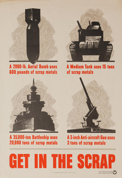 Get in The Scrap, Original American WWII Conservation Poster