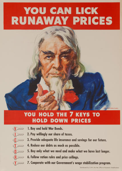 You can lick runaway prices. you hold the seven keys to hold down prices, Original American WWII Poster