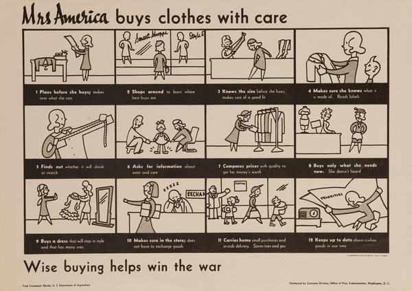 Mrs. America Buys Clothes With Care, Original American WWII Conservation Poster