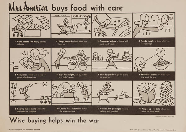 Mrs. America Buys Food With Care, Original American WWII Conservation Poster