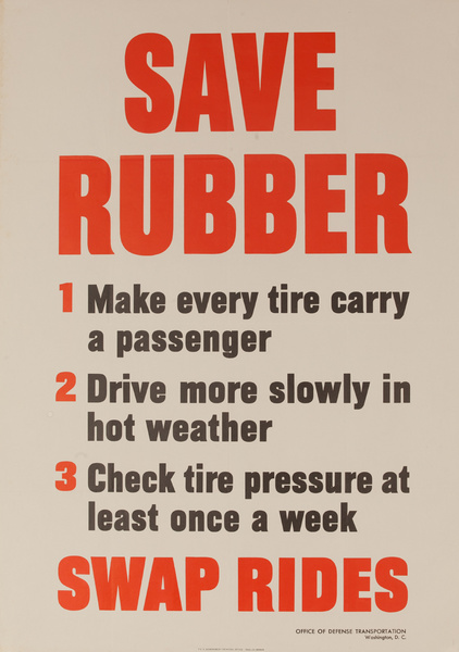 Save Rubber, Swap Rides, Original WWII Homefront Conservation Poster