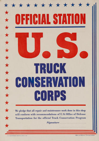 Official U S Truck Conservation Corps, Original WWII Poster