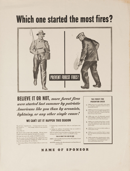 Which one started the most fires? Prevent forest fires!, Original American WWII Poster
