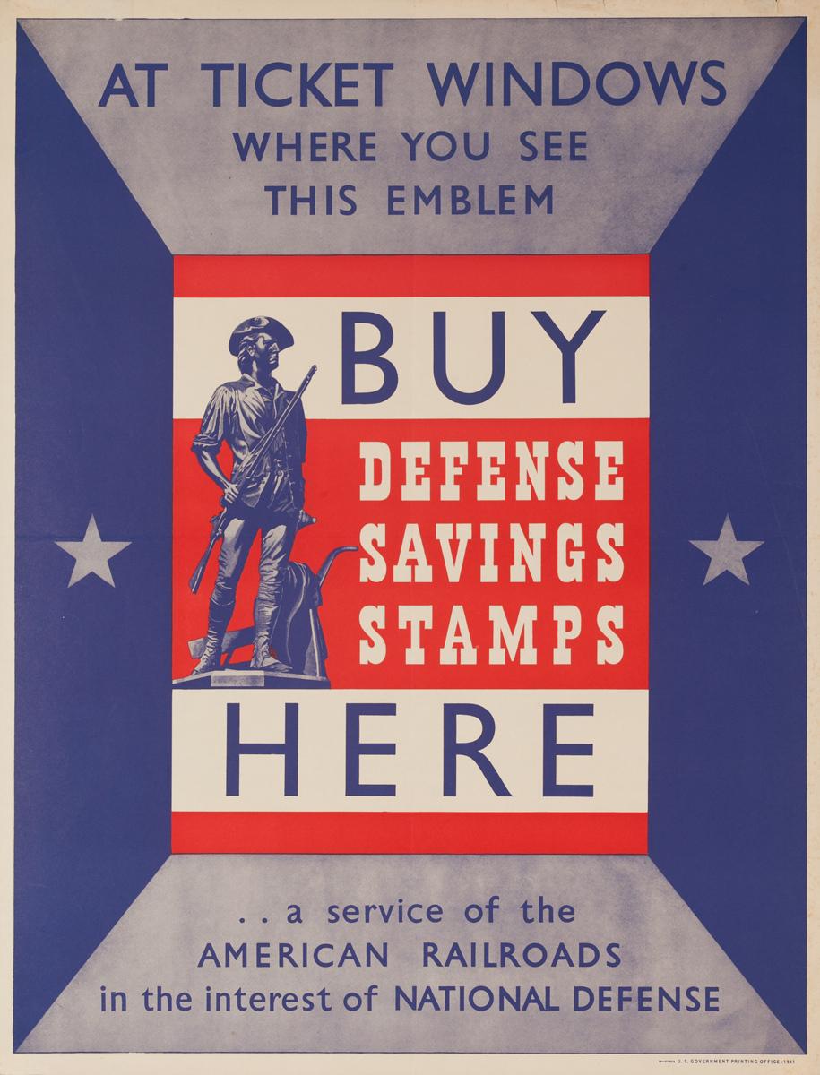 Buy Defense Savings Stamps Here, Original American WWII Poster