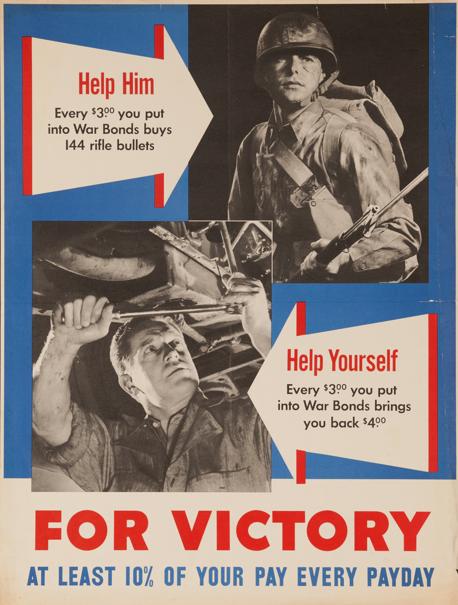 For Victory, At Least 10% of Your Pay Every Payday, Original American WWII Poster