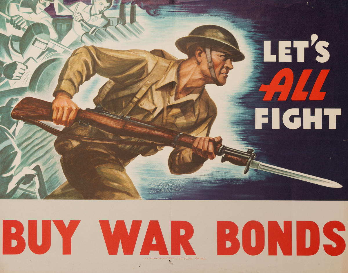 Let's All Fight, Buy War Bonds, Original American WWII Poster