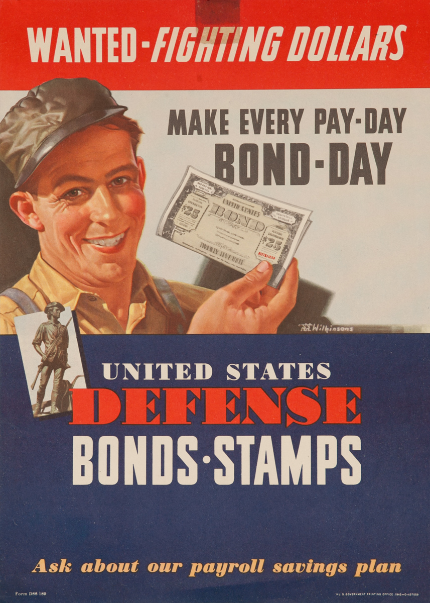 Wanted Fighting Dollars, United Defense Bonds - Stamps, Original American WWII Poster
