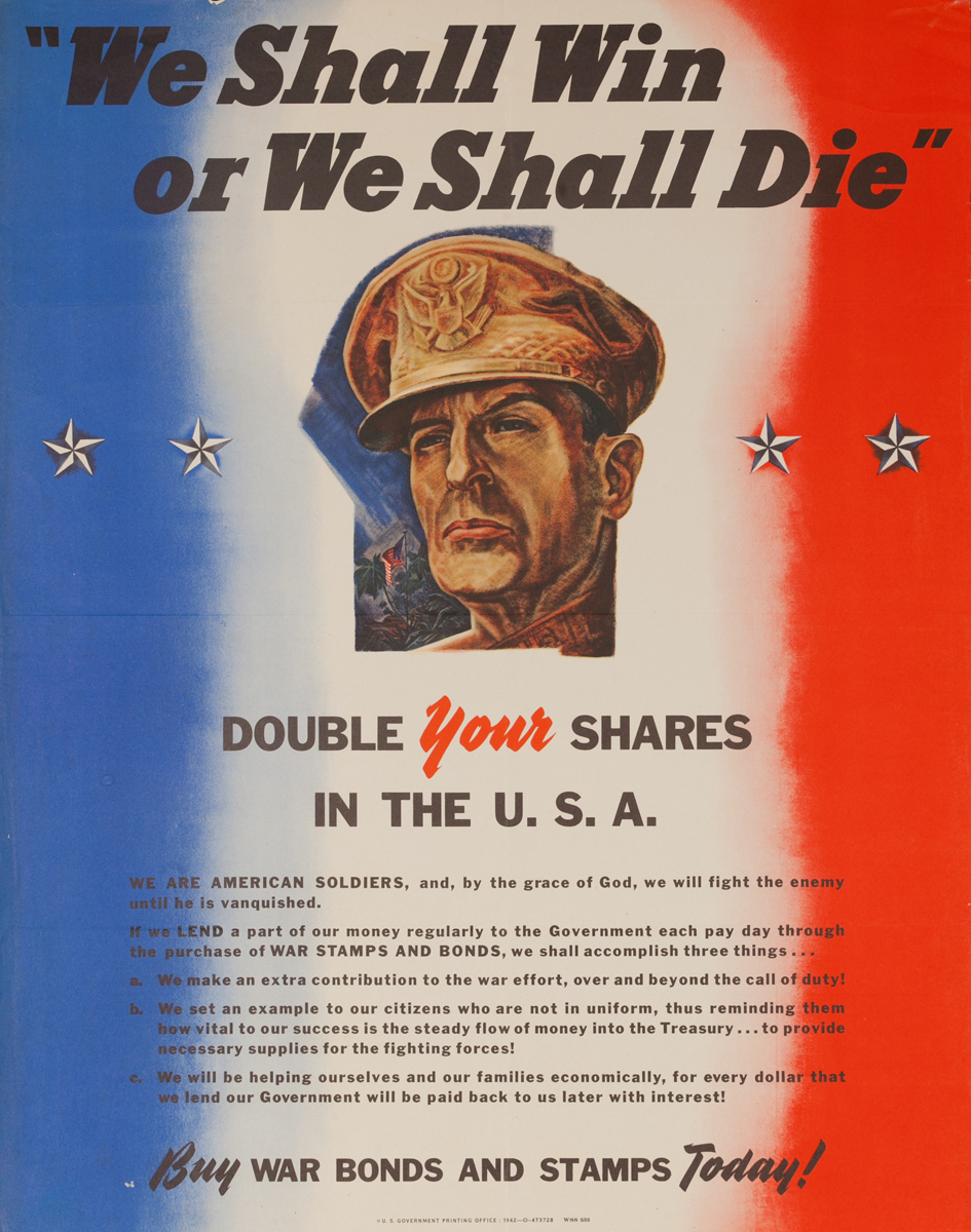 We Shall Win or We Shall Die, Original American WWII Poster