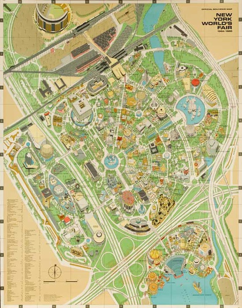 1964 New York World's Fair Aerial View Souvenir Map Poster