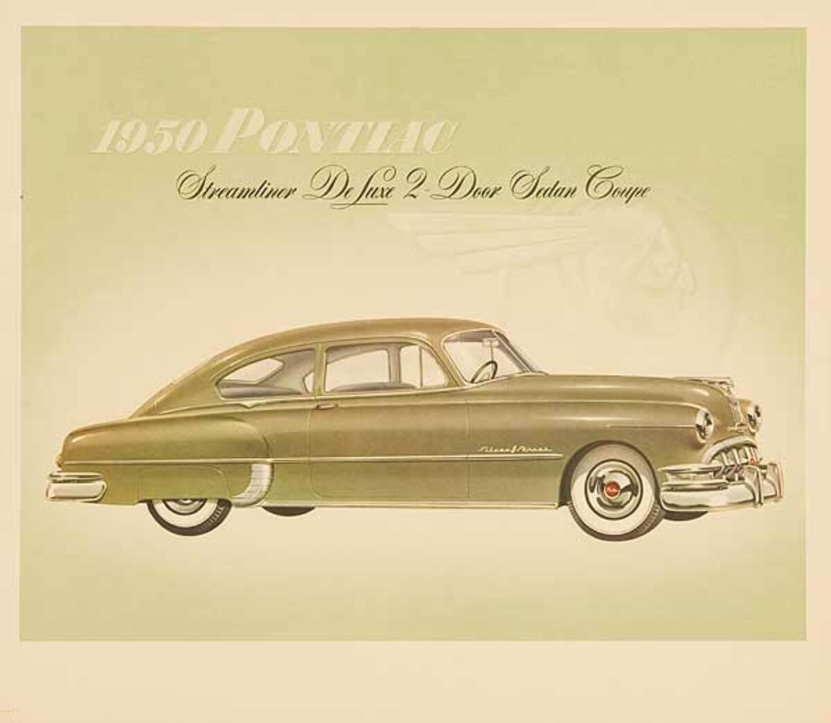 1950 Pontiac Streamliner DeLuxe 2 Door Sedan Coupe Original Showroom Advertising Poster