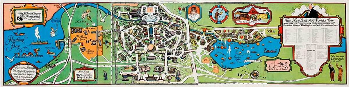 1939 NY World's Fair Map Souvenir Poster