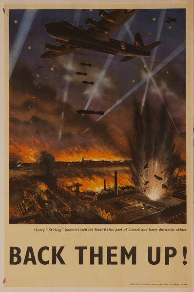 """Back them up! Heavy ""Stirling""  Bombers Raid the Nazi Baltic port of Lubeck and Leave the Docks Ablaze, Original British WWII Poster"