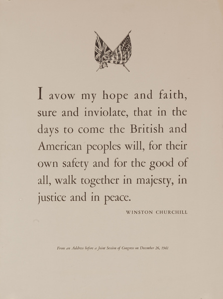 I Avow My Hope and Faith, Winston Chuchill Quote, Original British WWII Poster