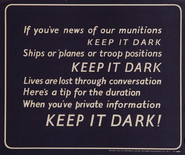 Keep it Dark, Original British WWII Poster