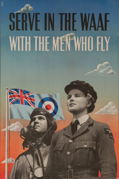 Serve in the WAAF, With the Men Who Fly, Original British WWII Poster