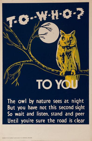 To Who? To You! , Original British WWII Poster