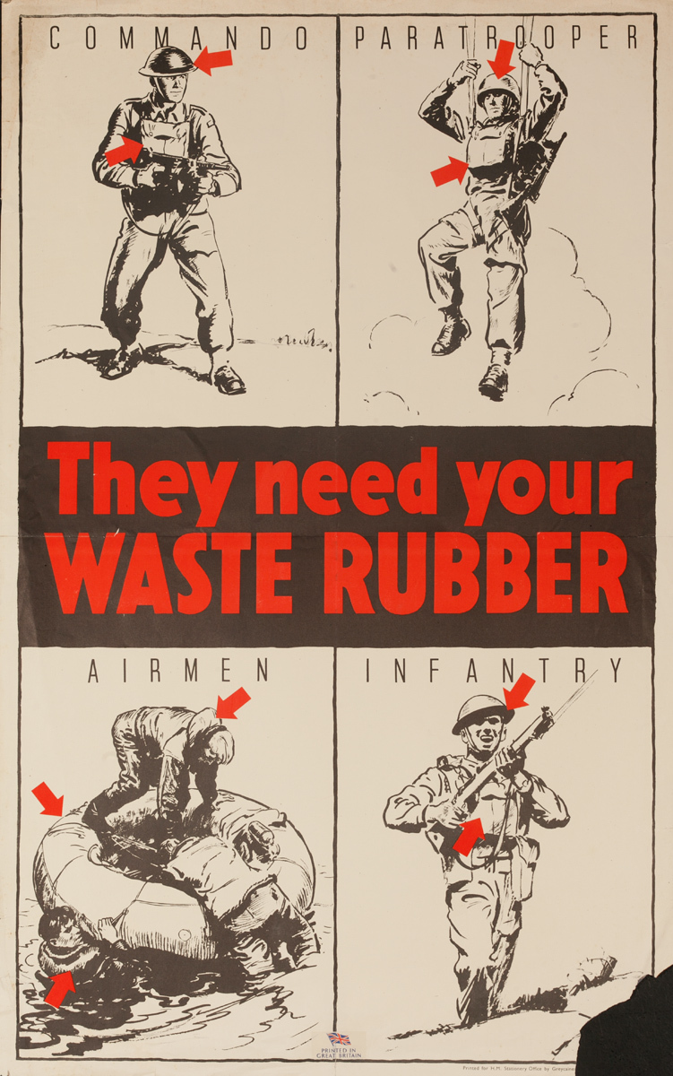 They Need Your Waste Rubber, Original British WWII Poster