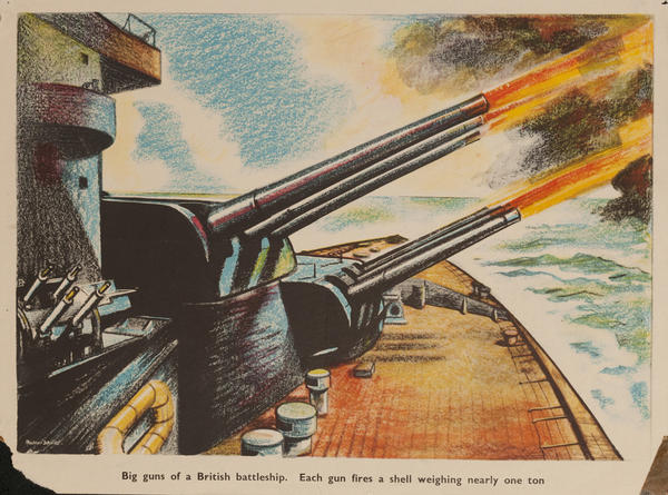 Big guns of a British battleship, each gun fires a shell weighing nearly one ton, Original British WWII Poster