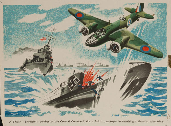 A British 'Blenheim' bomber of the coastal command, aids a British destroyer in smashing a German submarine, Original British WWII Poster