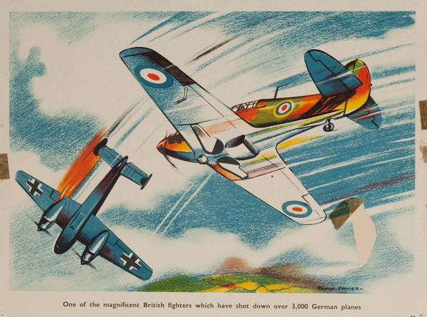 One of the magnificent British fighters, which has shot down over 3,000 German planes, Original British WWII Poster