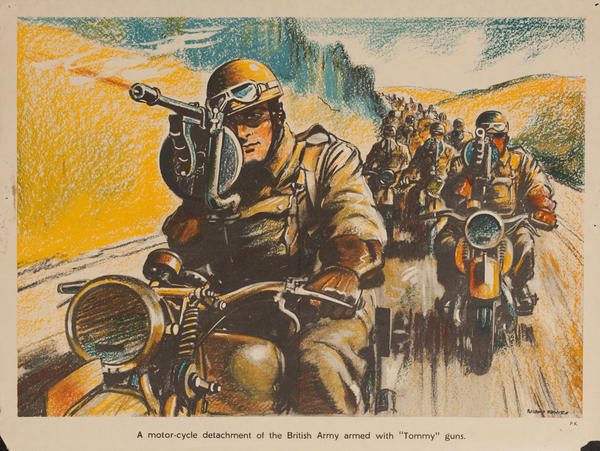 A motorcycle detachment of the British army, armed with Tommy guns, Original British WWII Poster