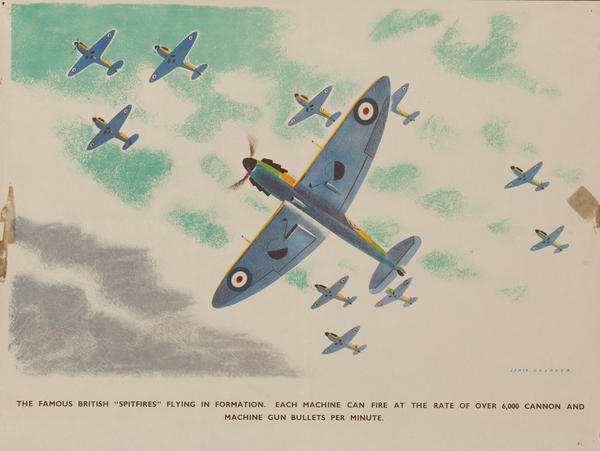 The famous British Spitfires, flying in formation, each machine can fire at the rate of over 6,000 cannon and machine gun bullets per minute, Original British WWII Poster