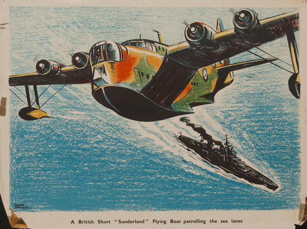A British sort 'Sunderland' flying boat patrolling the sea lanes, Original British WWII Poster