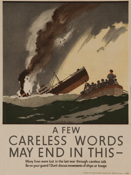 A Few Careless Words May End in This, Original British WWII Poster