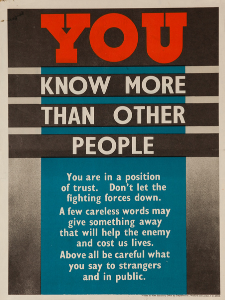 You Know More Than Other People, Original British WWII Poster