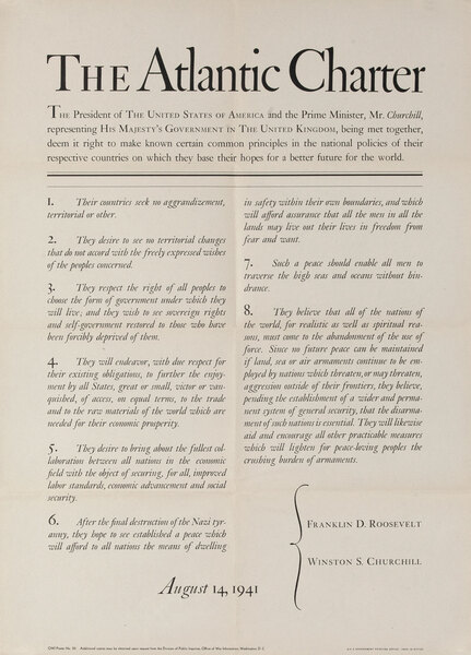 The Atlantic Charter, Original American WWII Poster