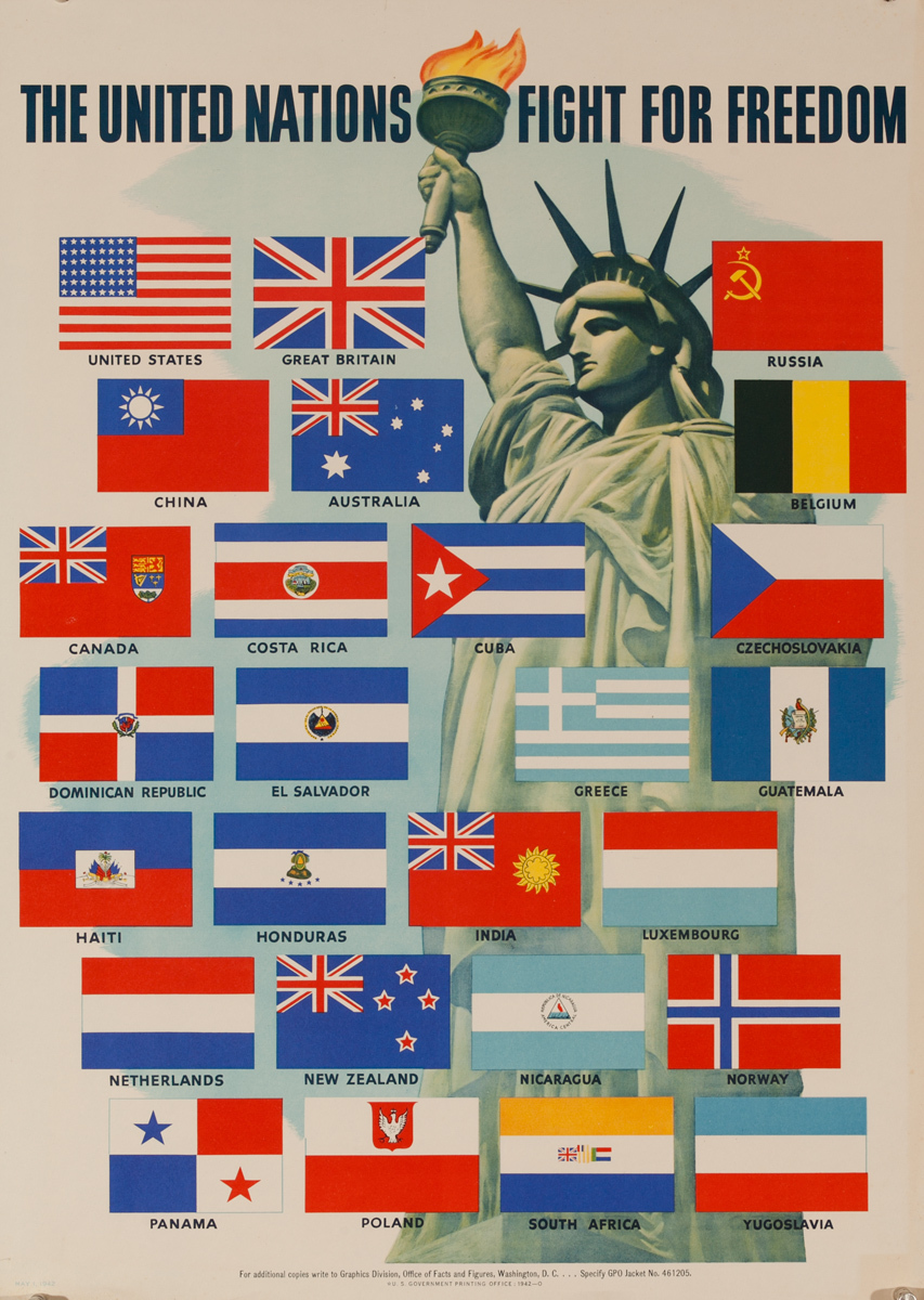 United Nations Fight for Freedom, Original American WWII Poster Statue of Liberty