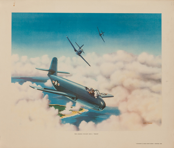 """The Chance Vought XF6U-1 """"Pirate"""", Original American WWII Poster"""
