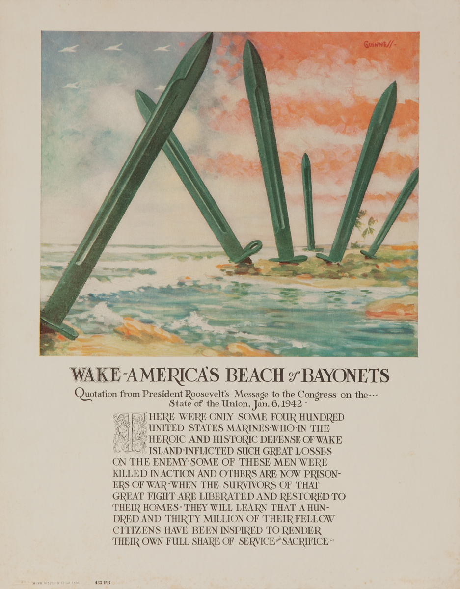 Wake - America's Beach of Bayonets, Original American WWII Poster