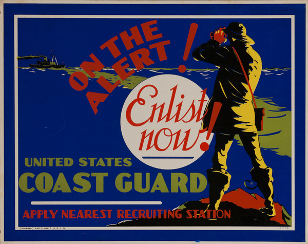 On the Alert! Enlist Now!, U.S. Coast Guard, Original American WWII Recruiting Poster