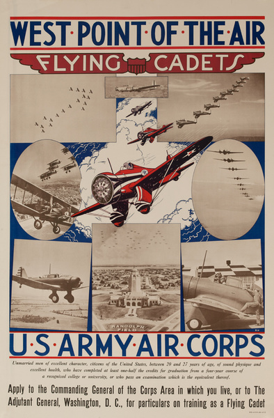 West Point of the Air, Flying Cadets, U.S. Army Air Corps, Original American Recruiting Poster
