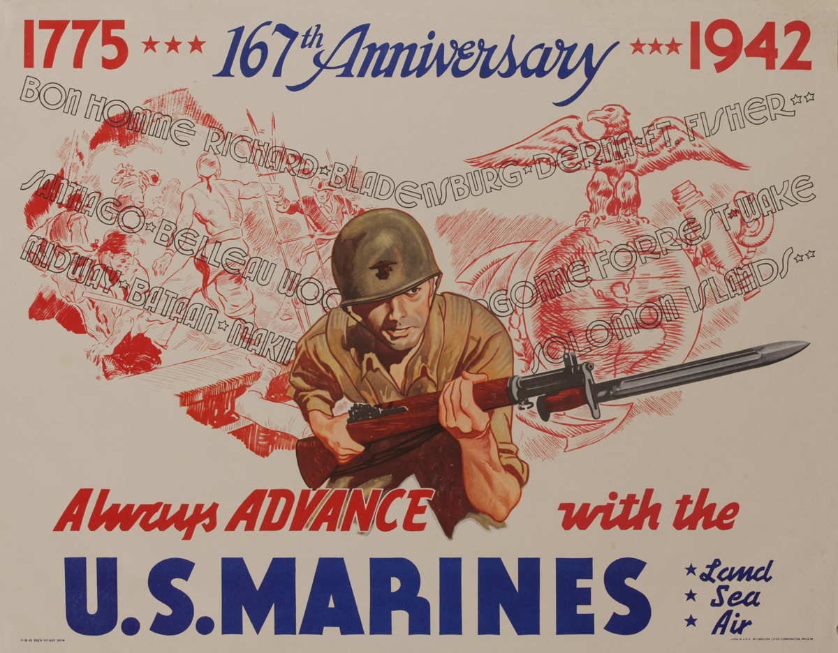 1775 -1942, 167 Anniversary, Always Advance With the U.S. Marines, Land Sea Air,  Original American WWII Recruiting Poster