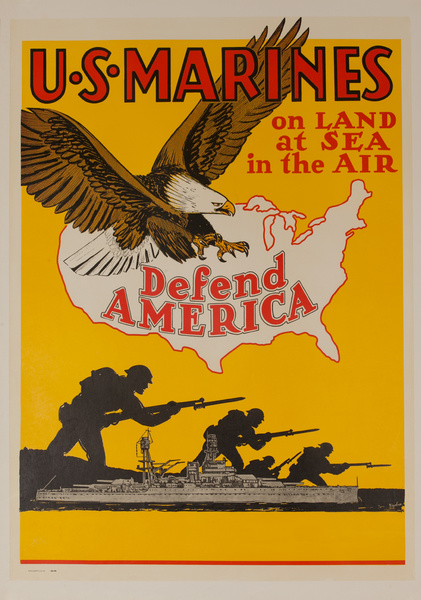 U. S. Marines, on Land, at Sea, in the Air, Defend America, Original American WWII Recruiting Poster