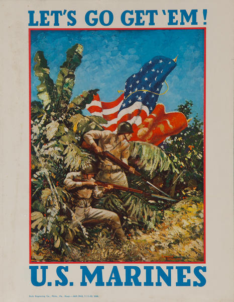 "Let's Go Get Em!"" US Marines, Original American WWII Recruiting Poster Small card"
