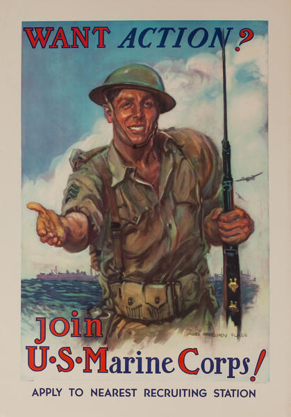 Want Action? Join the U. S. Marine Corps, Original American WWII Recruiting Poster