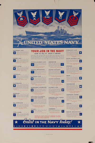 The Unites States Navy. Your Job in the Navy, Enlist Today, Original American WWII Recruiting Poster