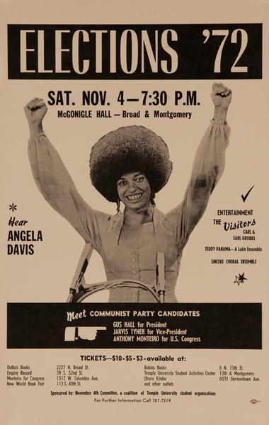 Elections '72, Hear Angela Davis Original American Political Poster