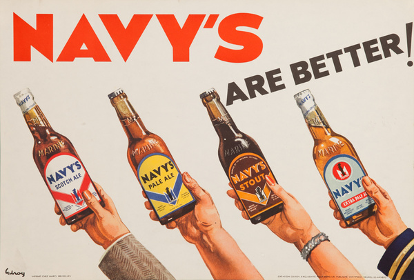 Navy's Are Better, Original Navy Beer Advertising Poster