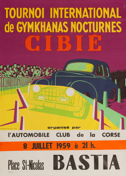 Tournoi International de Gymkhanas Nocturnes Cibie, Bastia Original French Auto Poster